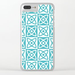Mid Century Modern Atomic Check 140 Turquoise Clear iPhone Case