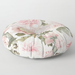 Vintage & Shabby Chic - Antique Pink Peony Flowers Garden Floor Pillow