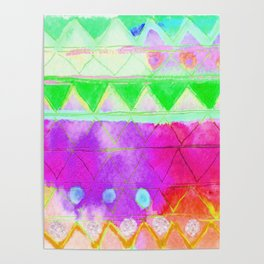 Aquarelle Green and Purple Print Poster