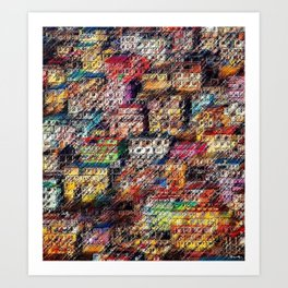 City Landscape of the Colored Himalayan Houses of Shimla, India by Jeanpaul Ferro Art Print