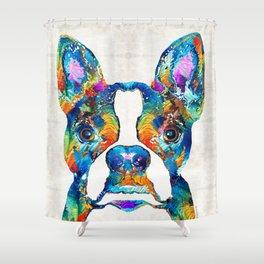Colorful Boston Terrier Dog Pop Art - Sharon Cummings Shower Curtain