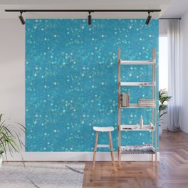 Soft Blue Glimmering Sparkles Wall Mural