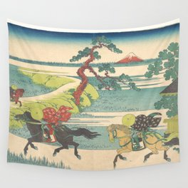 Japanese Print Three Horse Riders Wall Tapestry