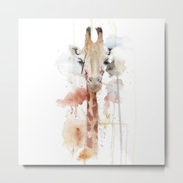 """Watercolor Painting of Picture """"Portrait of a Giraffe"""" Metal Print"""