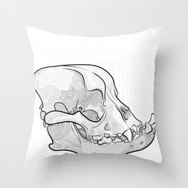English Bulldog Skull Throw Pillow
