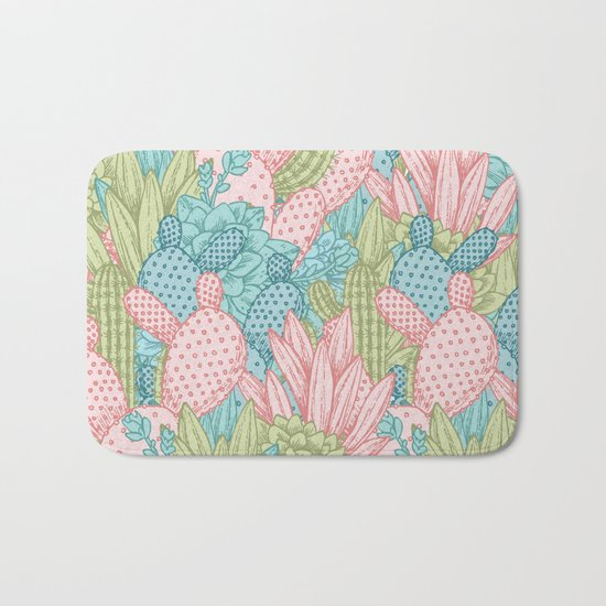 Pastel Cacti Obsession #society6 Bath Mat
