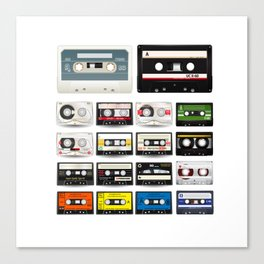 Collection of Retro Audio Cassette Tapes Canvas Print