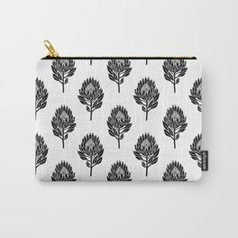Linocut Protea flower printmaking pattern black and white floral Carry-All Pouch