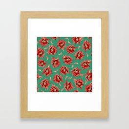 Red Christmas Flowers on Green Botanical Floral Pattern Framed Art Print