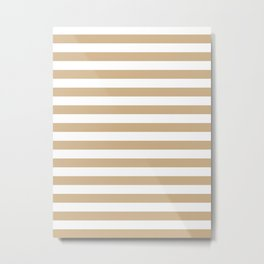 Narrow Horizontal Stripes - White and Tan Brown Metal Print