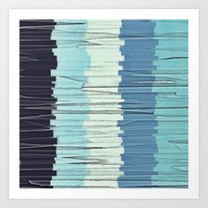 Blue Stripes Abstract Art Print