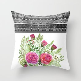 Bouquet of roses , patchwork 2 Throw Pillow