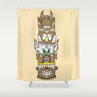 totem Shower Curtains featuring totem by ybalasiano