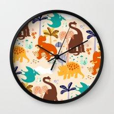 jurassic classic pattern Wall Clock