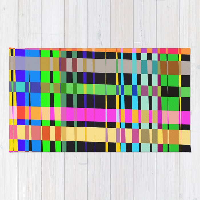 inclined coloured stripes Rug