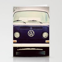 vw bus Stationery Cards featuring Blue VW Bus by Anna Dykema Photography