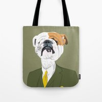 english bulldog Tote Bags featuring English Bulldog by drawgood