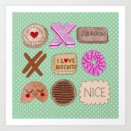 I Love Biscuits  Art Print