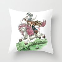 bouletcorp Throw Pillows featuring Barbarian Unicorn by Bouletcorp
