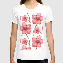 Watercolor Pink Flowers T-shirt