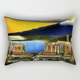 Sicily, Ruins of the Greek Theater at Taormina by Csontvary Kosztka Tivadar Rectangular Pillow
