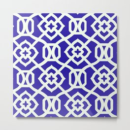 Moroccan Lattice~Navy & White Metal Print