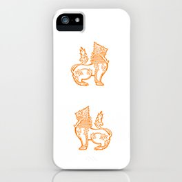 Orange Burmese Lion iPhone Case