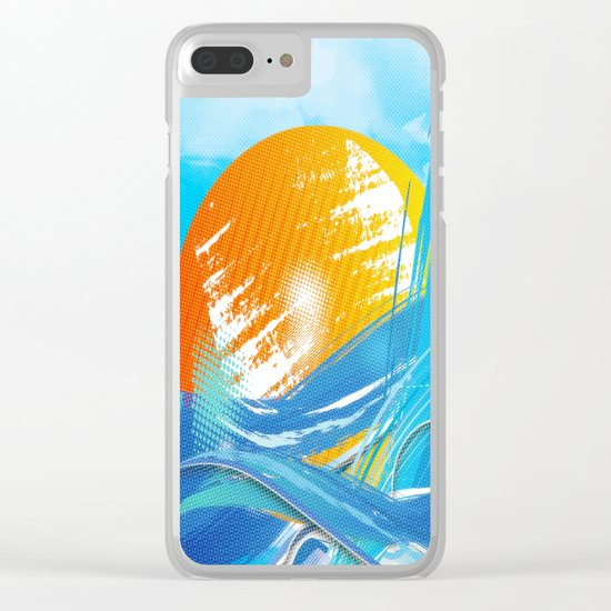 The sea absorbs the sun - Raster abstract Clear iPhone Case