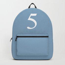 number five sign on placid blue color background Backpack