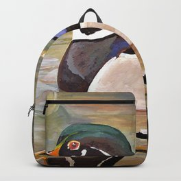 Wood Duck Water Foul Acrylic Painting Backpack