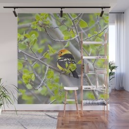 Watercolor Bird, Western Tanager 01, Estes Park, Colorado, A Bit of the Tropics in the Rockies Wall Mural