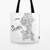 seattle Tote Bags featuring Seattle Map by Claire Lordon