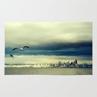 seattle Area & Throw Rugs featuring Seattle by FrancisDelapena.com