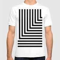Black and White L Stripes // www.pencilmeinstationery.com SMALL White Mens Fitted Tee