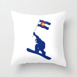 Colorado Snowboard Flag Throw Pillow