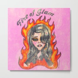Fire of glam doll Metal Print