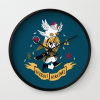 hyrule Wall Clocks featuring hyrule airlines by Louis Roskosch