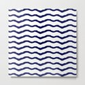 Maritime pattern- dark blue waves lines ond white  background by simplicity_of_live