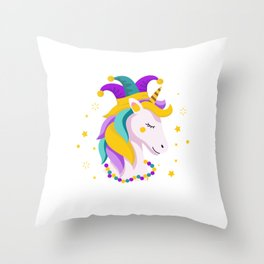 Unicorn Mardi Gras Street Party Carnival Gift Throw Pillow