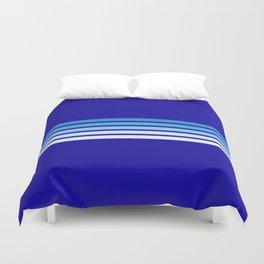 Retro Stripes on Blue Duvet Cover