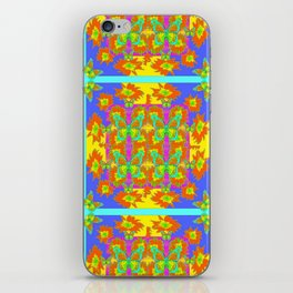 BOHEMIAN STYLE QUILTED TURQUOISE BUTTERFLIES & FLOWERS iPhone Skin
