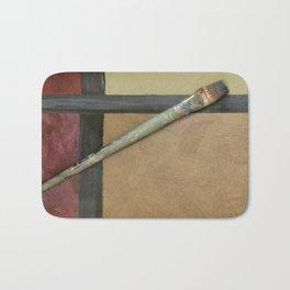 Artist Brush On Abstract Copper Canvas Artwork - Vintage - Modern Art - Corbin Henry Bath Mat