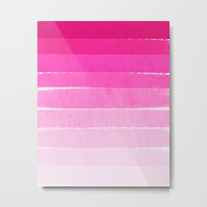 Pink Ombre Brushstroke - Summer, Beach, Cute trendy, painterly art Metal Print