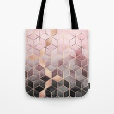 Pink And Grey Gradient Cubes Tote Bag