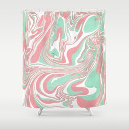 Elegant pink green abstract watercolor marble Shower Curtain