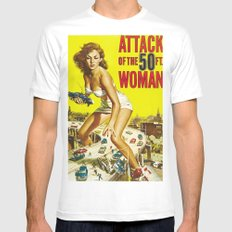 Attack of the 50 ft Woman MEDIUM White Mens Fitted Tee