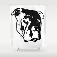 pitbull Shower Curtains featuring COACH - BLACK by Kirk Scott