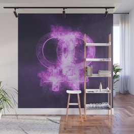 Female homosexuality symbol. Lesbian glyph. Doubled female sign. Abstract night sky background Wall Mural