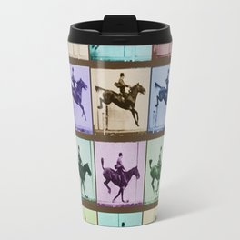 Time Lapse Motion Study Horse And Rider Color Travel Mug