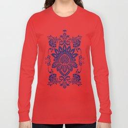 damask blue and white Long Sleeve T-shirt